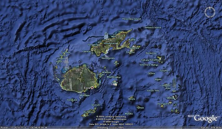 Mappa delle Isole Fiji da Google Earth