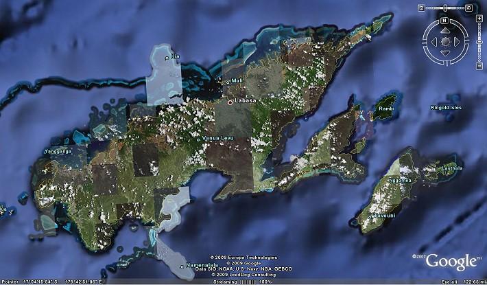 Mappa di Vanua Levu da Google Earth